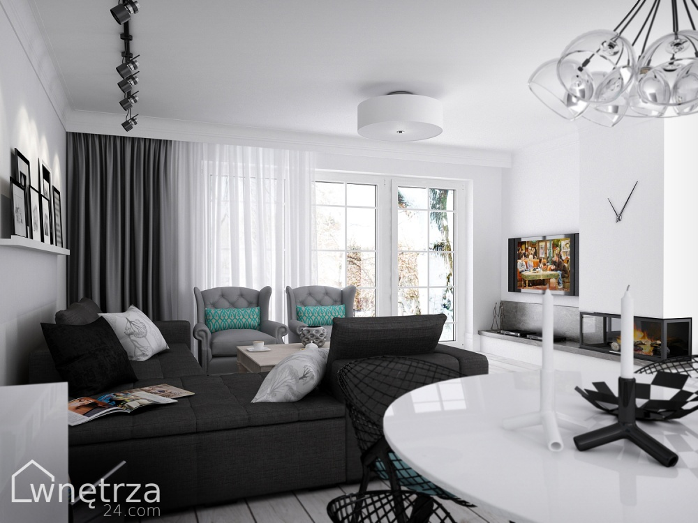 Apartment Design Black One Hyde Park Luxury Apartments by  -> Kuchnia Bialo Czarno Turkusowa